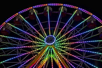 Ferris Wheel At Night Art Print by Deb Fruscella