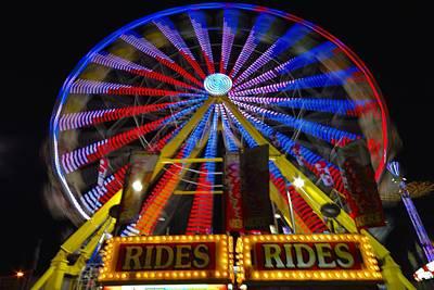 Funland Photograph - Ferris Wheel At Night by J Scott Davidson