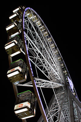 Ferris Wheel At Night Art Print