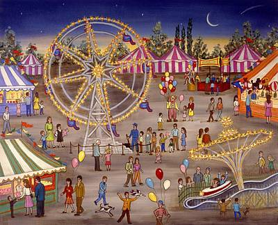 Clowns Painting - Ferris Wheel At The Carnival by Linda Mears