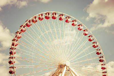 Wheel Photograph - Ferris Wheel Chicago Navy Pier Vintage Photo by Paul Velgos