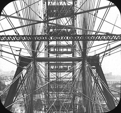 Photograph - Ferris Wheel Close Up At Chicago Worlds Fair Columbian Exposition by Historic Photos