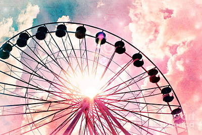 Photograph - Ferris Wheel In Pink And Blue by Colleen Kammerer