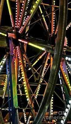 Art Print featuring the photograph Lit Ferris Wheel  by Lilliana Mendez
