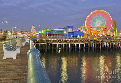 Photograph - Ferris Wheel Pacific Park Pier Moving At Night Santa Monica Ca  by David Zanzinger