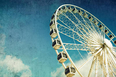 Blue Sky Photograph - Ferris Wheel Retro by Jane Rix