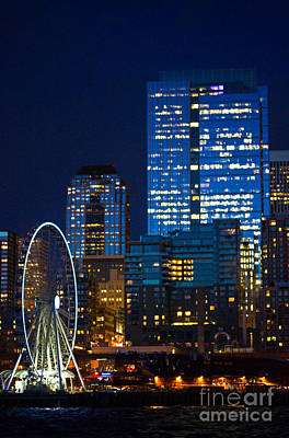 Photograph - Ferris Wheel Seattle Harbor by Marie Jamieson