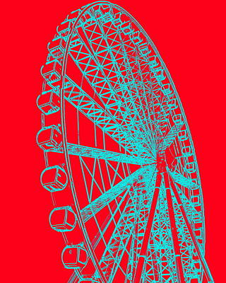 Ferris Wheel Silhouette Turquoise Red Art Print