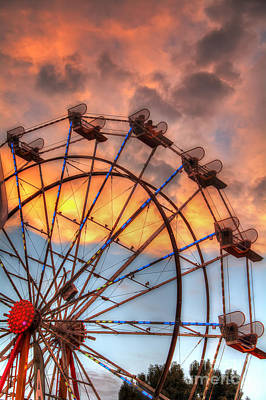 Photograph - Ferris Wheel Sunset by Eddie Yerkish