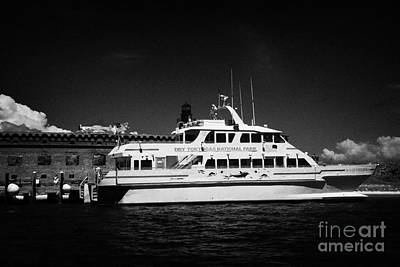 Ferry And Dock At Fort Jefferson Dry Tortugas National Park Florida Keys Usa Art Print by Joe Fox