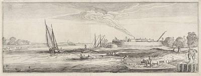 Angling Drawing - Ferry At A Settlement Near A River, Jan Van De Velde II by Jan Van De Velde (ii)