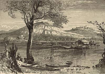 Lookout Mountain Drawing - Ferry At Chattanooga 1872 Engraving By Harry Fenn by Antique Engravings