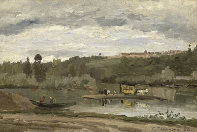 Carriage Horse Photograph - Ferry At Varenne-saint-hilaire, 1864 Oil On Canvas by Camille Pissarro