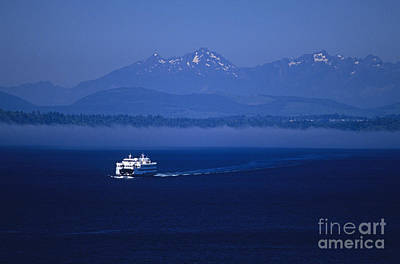 Ferry Boat In Puget Sound With Olympic Mountains Art Print