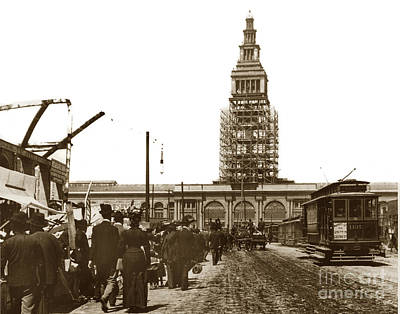 Photograph - Ferry Building Foot Of Market St. San Francisco Earthquake And Fire Of April 18 1906 by California Views Mr Pat Hathaway Archives