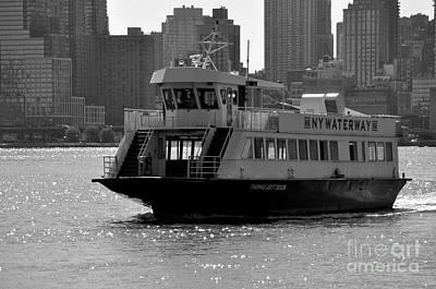 New York Skyline Photograph - Ferry From New York City Black And White by Kathy Flood