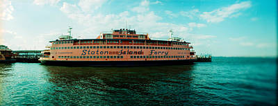 Ferry In A River, Staten Island Ferry Art Print by Panoramic Images