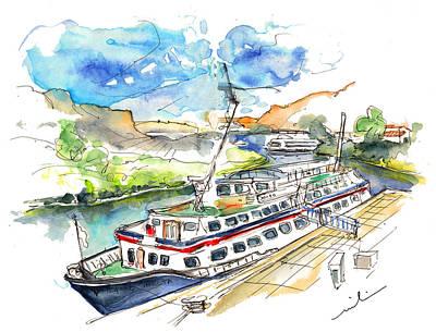 Travel Sketch Drawing - Ferry In Barca De Alva In Portugal by Miki De Goodaboom