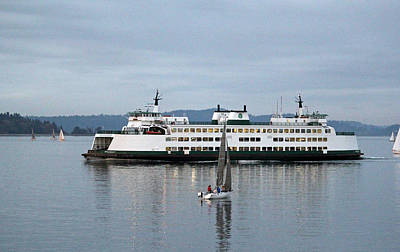 Photograph - Ferry Issaquah And Sailboats by E Faithe Lester