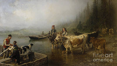 Cattle Dog Painting - Ferry Place By The Lake by Anders Askevold