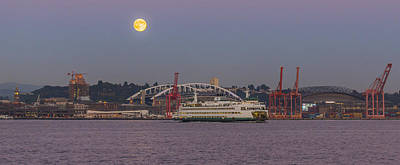 Photograph - Ferry Under A Full Moon by Scott Campbell
