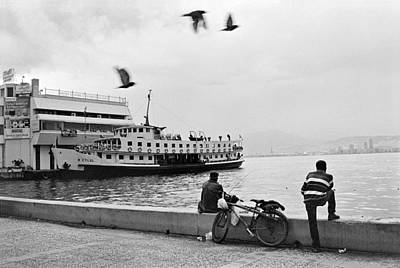Ferryboat In Karsiyaka Port In Izmir Art Print
