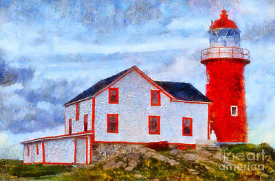 Photograph - Ferryland Lighthouse In Newfoundland by Les Palenik