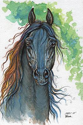 Ferryt Polish Black Arabian Horse Original by Angel  Tarantella