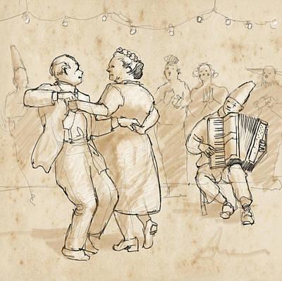 Joy Drawing - Festa Di Famiglia by H James Hoff