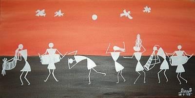 Festival In Warali Village Art Print by Dipali Deshpande