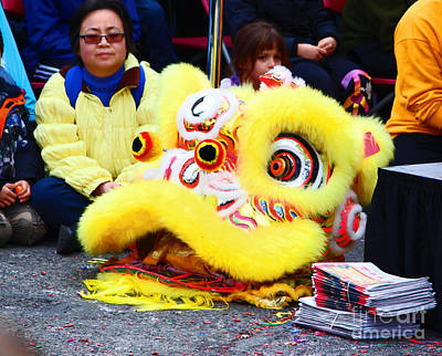 Year Of The Snake Photograph - Festival Lion Head In Yellow by Kym Backland