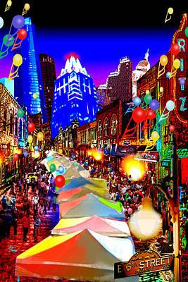 Festive 6th Street Austin Art Print by Dan Terry