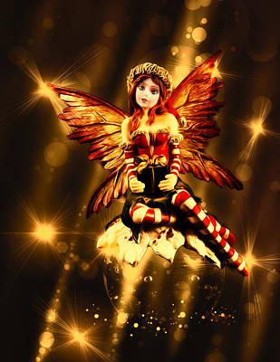 Supernatural Digital Art - Festive Amber Fairy by Bill Tiepelman