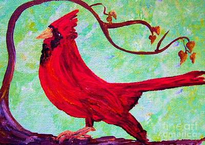 Teal Mixed Media - Festive Cardinal by Eloise Schneider