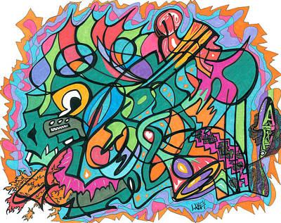 Primitive Drawing - Festive Dragon Likes Love by Lakey Hinson