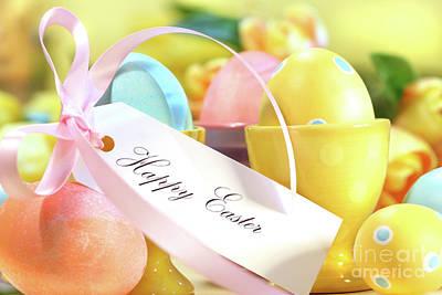 Festive Easter Eggs Art Print by Sandra Cunningham