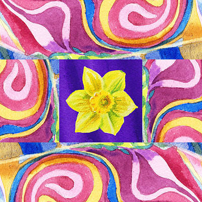 Daffodils Painting - Festive Floral Daffodil by Irina Sztukowski