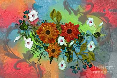 Layered Digital Painting - Festive Floral by Nancy Long