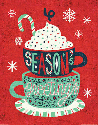 Holiday Painting - Festive Holiday Cocoa Seasons Greetings by Michael Mullan