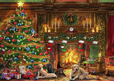 Christmas Tree Drawing - Festive Labradors by Dominic Davison