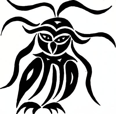 Festive Owl Art Print by Beth Akerman