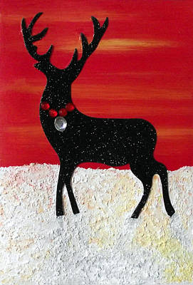Painting - Festive Reindeer by Sandy Wager