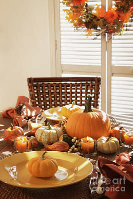 Photograph - Festive Table Settings For Thanksgiving by Sandra Cunningham