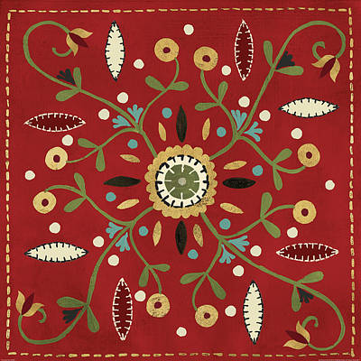 Vines Painting - Festive Tiles Iv Red Wal by Anne Tavoletti