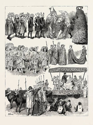 Festivities At St. Mary Cray, Kent, Engraving 1890 Art Print by English School