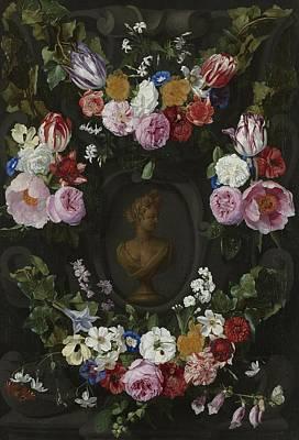 Painting - Festoen Van Bloemen On Een Buste Van Flora by Jan Phillips Van Thielen