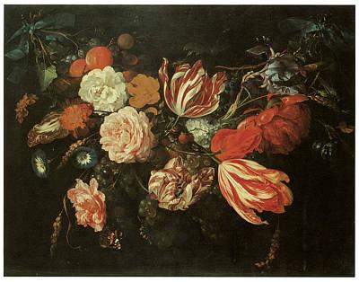 Heem Painting - Festoon Of Flowers by Jan Davidsz De Heem
