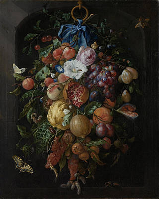 Heem Painting - Festoon Of Fruit And Flowers by Quint Lox