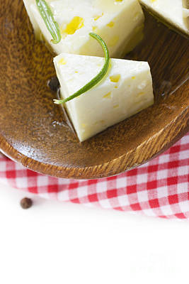 Wooden Platter Photograph - Feta Cheese by Mythja  Photography