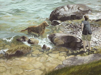 Water Retrieve Painting - Fetch by Karen  Bockus